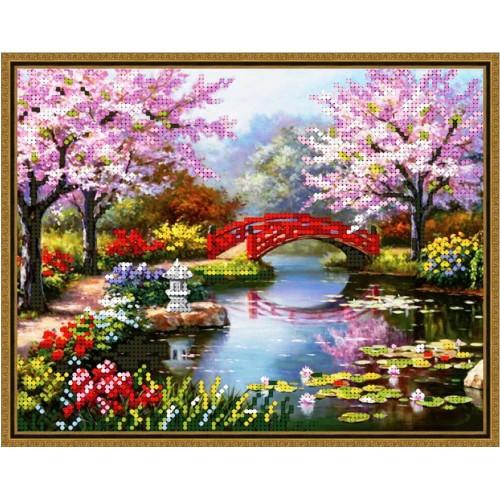 Вышивка бисером, Канва Пейзаж Весенний мостик