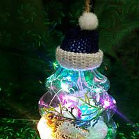 Гирлянда-подвеска елка на батарейках светодиодная. Прозрачная елка