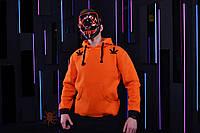 Оранжевая зимняя мужская худи, кенгуру, зимова кофта, худи в стиле Марихуана.