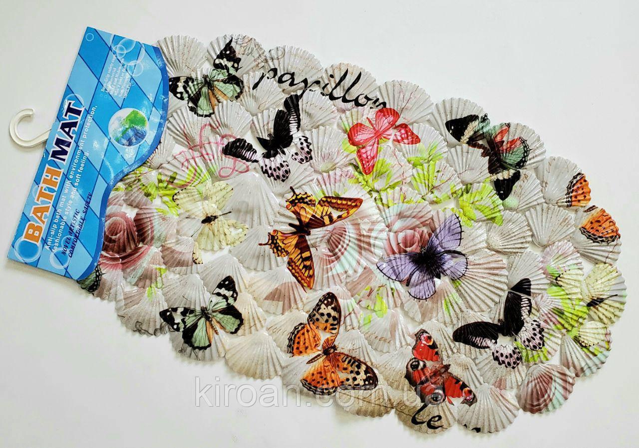 Коврик на присосках ракушка детский (Бабочки)