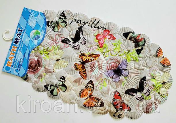 Коврик на присосках ракушка детский (Бабочки), фото 2