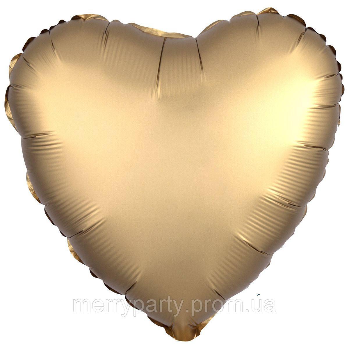 """18"""" (45 см) Сердце сатин золото Anagram США шар фольгированный"""