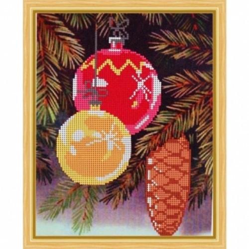 Вышивка схема бисером, новый год Дед мороз Канва Город Пейзажи Ёлочный игрушки