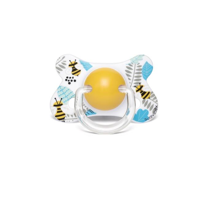 """Suavinex - Пустышка с анатомической (скошенной) соской """"Крылатые истории""""/пчелки (с 4 до 18 мес)"""