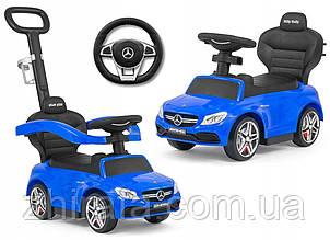 Машинка каталка толокар з ручкою Milly Mally Mercedes AMG Синій