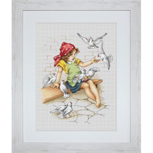 Наборы для вышивания крестом Luca S Детское Девочка с голубями