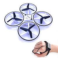 Квадрокоптер с перчаткой управления рукой и датчиками препятствий Drone 928 белый, фото 1