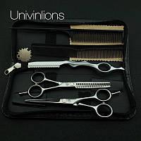 """Univinlions 5,5 """"  дюймов профессиональные парикмахерские ножницы для стрижки комплект с чехлом 5517"""