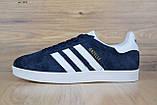 Мужские кроссовки в стиле Adidas Gazelle замша синие с белым, фото 3