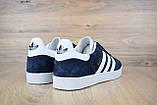 Мужские кроссовки в стиле Adidas Gazelle замша синие с белым, фото 5