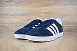 Мужские кроссовки в стиле Adidas Gazelle замша синие с белым, фото 6