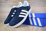 Мужские кроссовки в стиле Adidas Gazelle замша синие с белым, фото 7