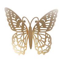 Наклейки на стену Бабочки 3d ажур золото F 12 шт. в упаковке