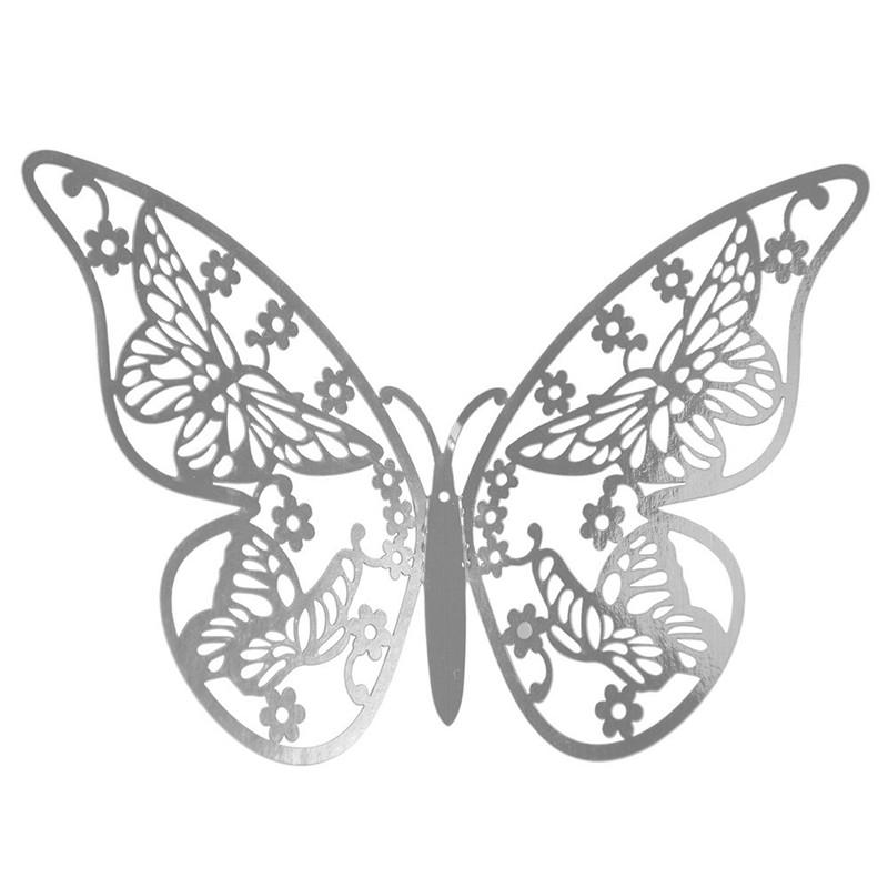 Наклейки на стену Бабочки 3d ажур серебро E 12 шт. в упаковке