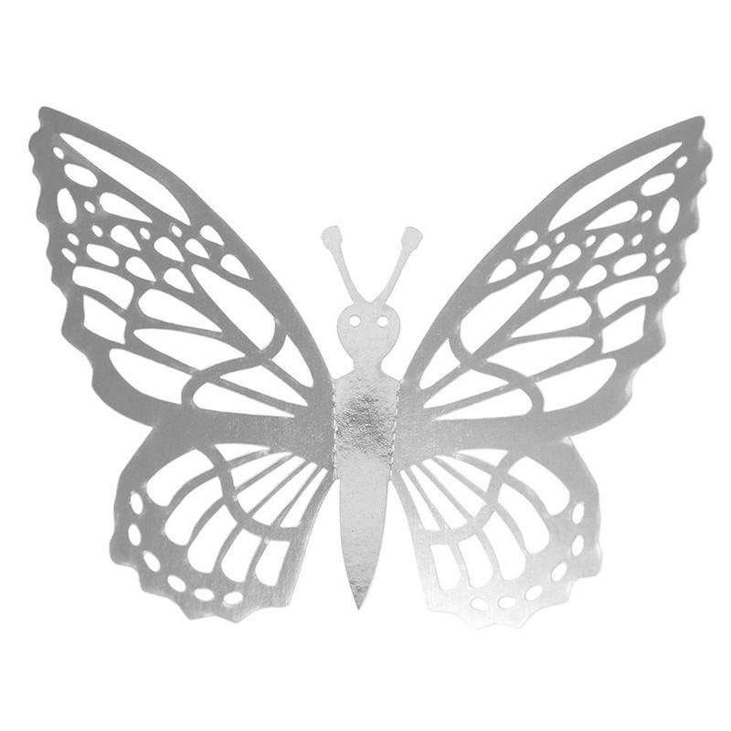 Наклейки на стену Бабочки 3d ажур серебро G 12 шт. в упаковке