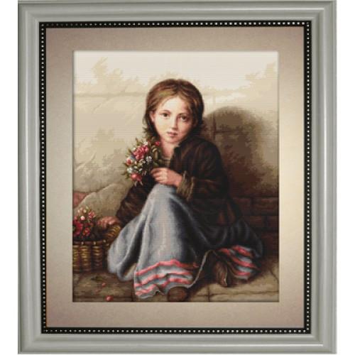 Набори для вишивання хрестом Класика Luca S Дівчинка з квітами