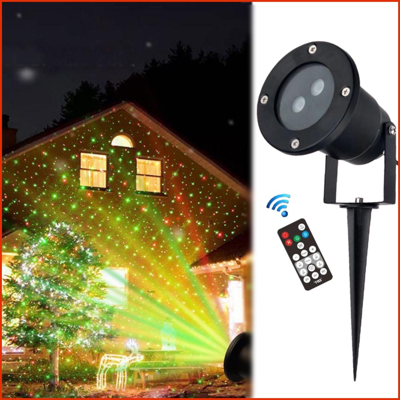 Лазерний проектор Holiday Laser Light з пультом Star Shower гірлянда зоряний вуличний зірки новорічний лазер