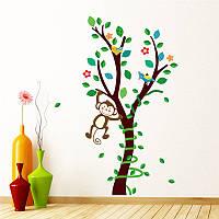 """Интерьерная наклейка в детскую """"Обезьянки на дереве"""" размер 45*85 см."""
