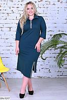 Женское Трикотажное Платье со стразами БАТАЛ, фото 1
