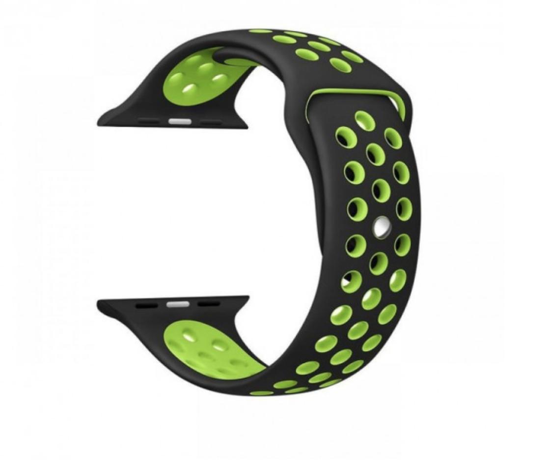 Силиконовый ремешок черный с зеленым Sport Nike+ Band для умных смарт часов Apple watch 38/40 mm