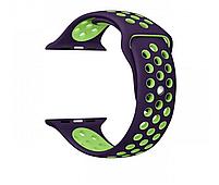 Силиконовый ремешок черный с зеленым Sport Nike+ Band для умных смарт часов Apple watch 38/40 mm, фото 5