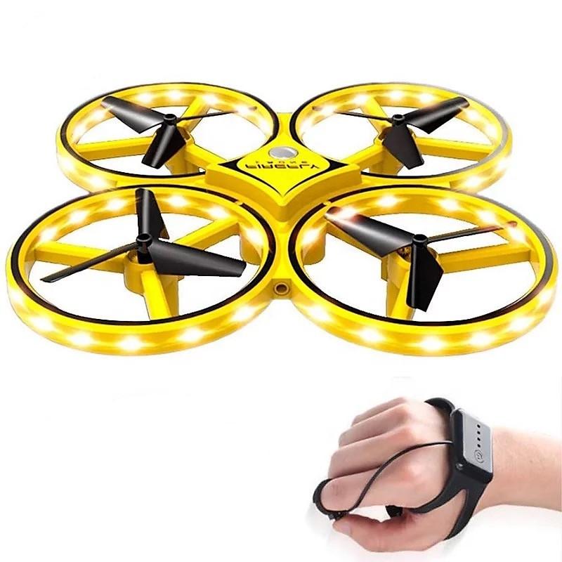 Квадрокоптер с перчаткой управления рукой и датчиками препятствий Drone 928 желтый