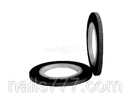 Сахарная лента для декора ногтей - Черная 1 мм