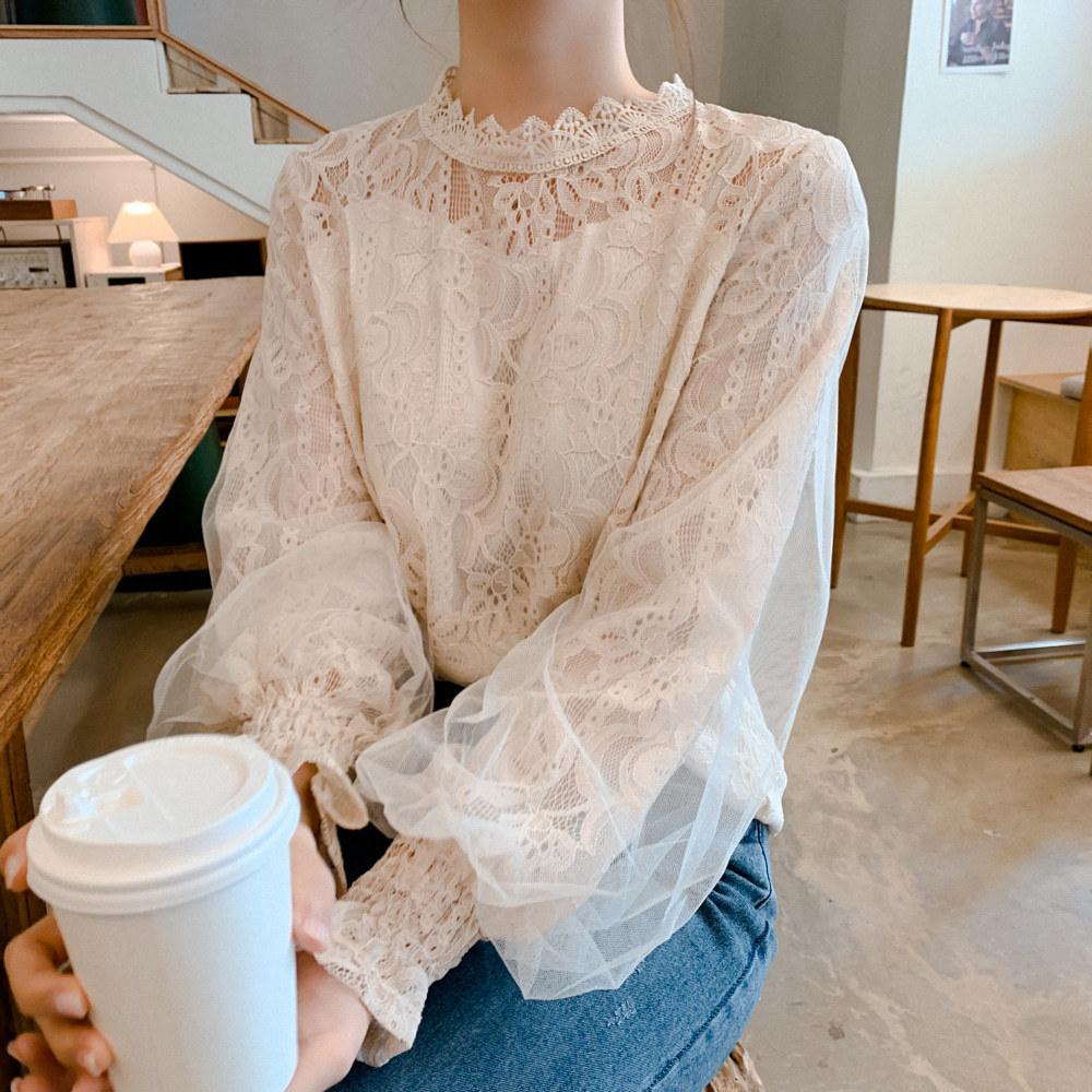 Гипюровая блузка с сеточкой 42-46 (в расцветках)