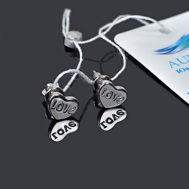 Серьги пусеты Сердечки серебро 925 пробы Aurora 82546