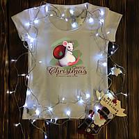 Женская футболка  с принтом - Крыса - Merry Christmas