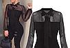 Женский боди с длинным рукавом, с бантом черный  ITFABS Helena, фото 4