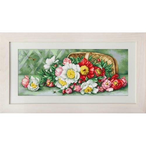 Набор для вышивания нитками Luca-S Цветы Корзина с пионами