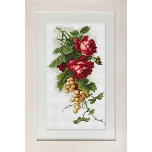 Наборы для вышивания крестом Luca S Натюрморт Красные розы с виноградом