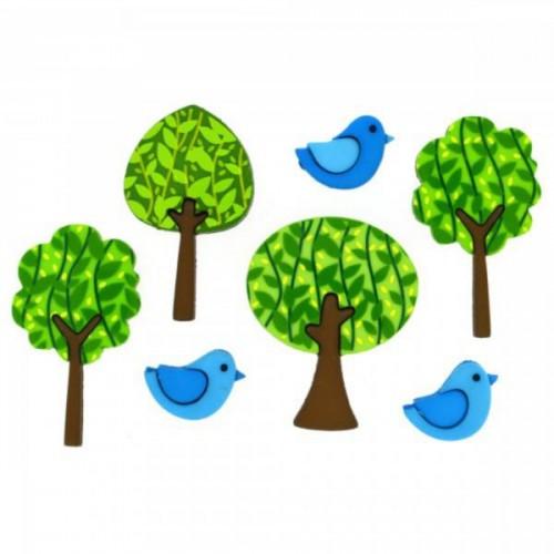 8322 Декоративні гудзики. Ліс з пташками