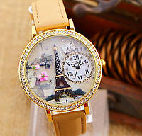Наручные часы Mini World - Париж бежевые, циферблат 3,8 см., длина 22 см.
