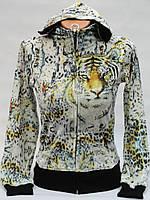 Модная велюровая женская кофточка тигр