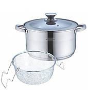A4514S Набор посуды 3 пр(кастрюля с крышкой 6.5л вкладка дуршлаг для макарон) полые ручки из нерж стали