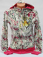 Стильная велюровая женская кофточка тигр