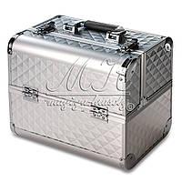Профессиональный алюминиевый кейс для косметики, серебристый ромб, фото 1