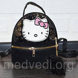Черный детский рюкзак с пайетками Hello Kitty (Хеллоу Китти)