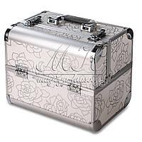 Профессиональный алюминиевый кейс для косметики, серебристый с рисунком (розы крупные), фото 1