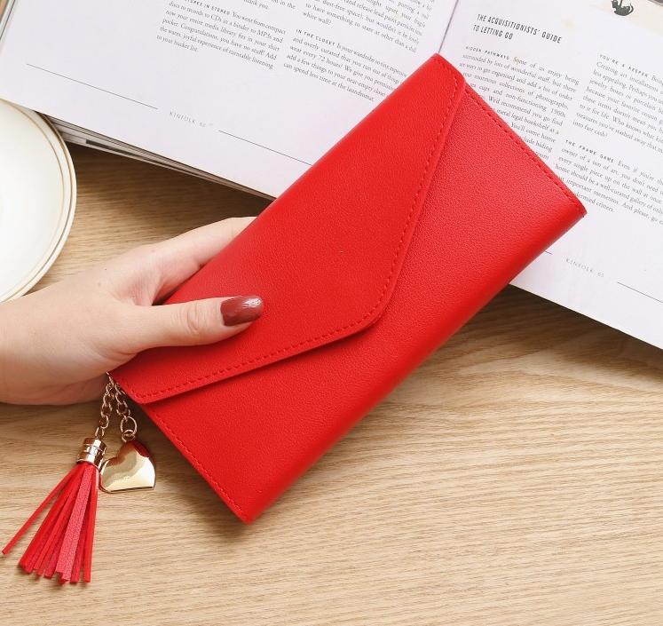 Женский кошелек красный с кисточкой код 375