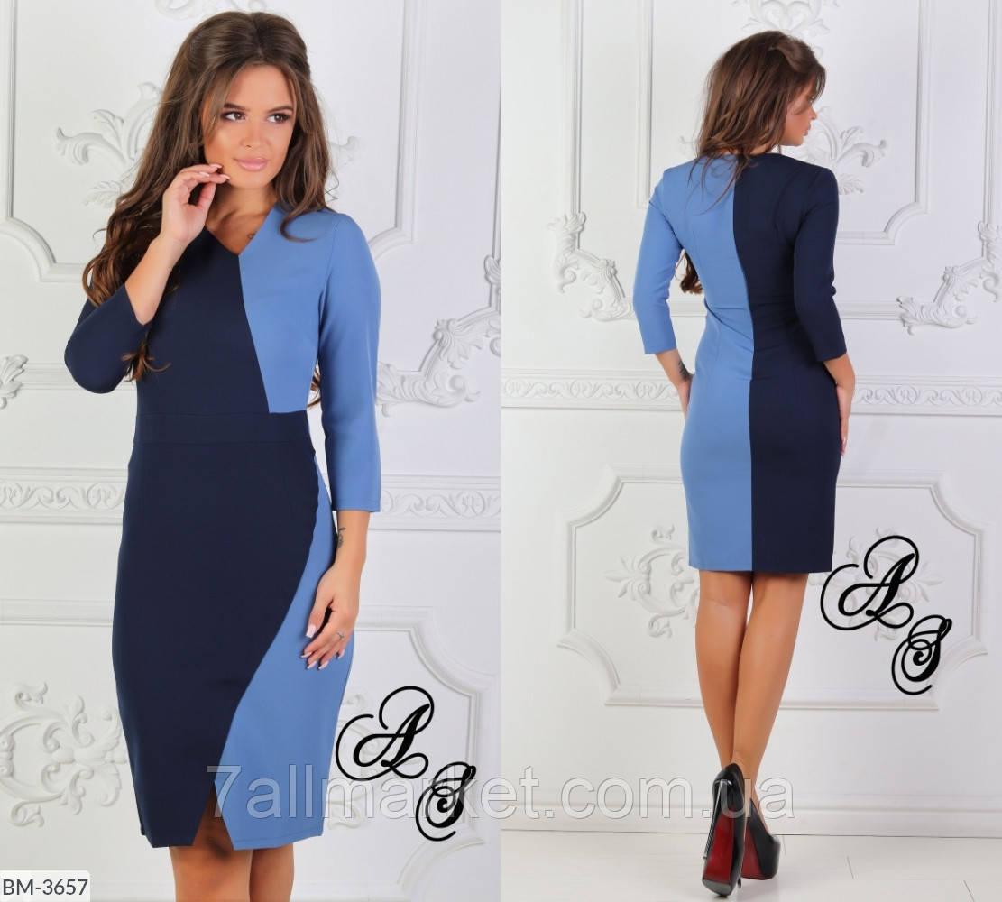 """Платье женское двухцветное мод. 002 (L, M, S) """"ANGELO"""" недорого от прямого поставщика"""