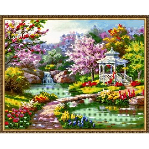 Вышивка бисером, Канва Пейзаж Цветущая сакура