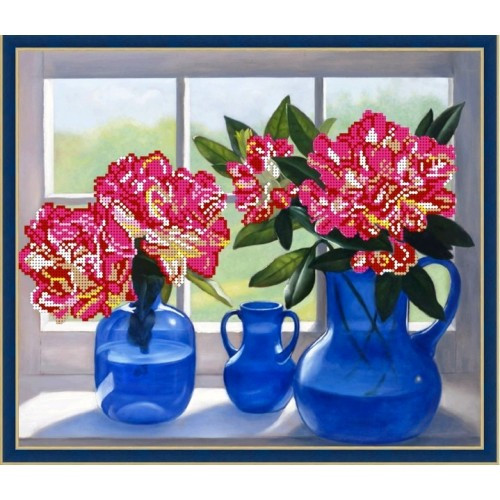 Вышивка бисером, Канва цветы схема натюрморт Цветы на окне