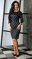 Женское платье в клетку с оригинальной спинкой, фото 1