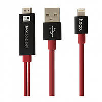 Кабель Hoco UA4 Lightning-HDMI 2m Black Red
