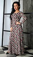 Теплое женское платье с цветочным принтом, фото 1