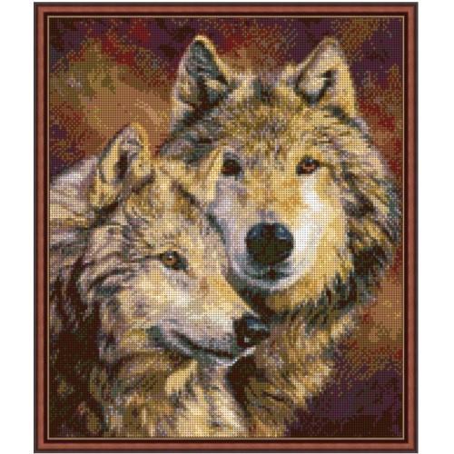 Вышивка бисером, Канва Город Схема животные  Пара волков