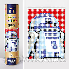 "*Картина по номерам стикерами в тубусе ""Робот синий"", 33х48см, 1200 стикеров."